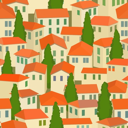 cypress tree: seamless old town with red roof and cypress tree