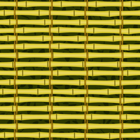 bamboo mat: seamless bamboo jalousie mat tying by cord background Illustration