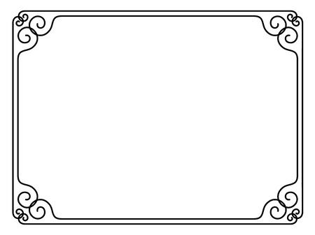 単純な達筆で書く装飾用フレーム (飾り枠パターン ベクトル  イラスト・ベクター素材