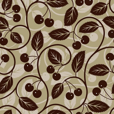 cherry with leaf stylized silhouette seamless background