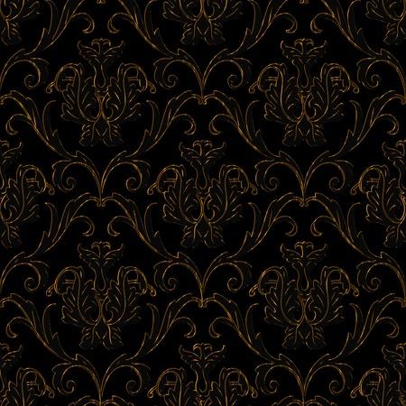 noire transparente avec l'or bande fond floral abstrait Vecteurs