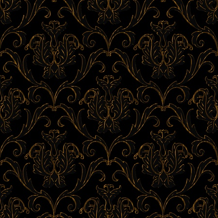 venetian victorian: seamless black with gold stripe floral abstract background