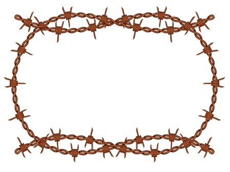 fil de fer: rouillée motif barbelé fil de fer isolé