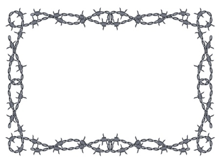 barbed wire fence: barbed wire frame pattern isolated on white
