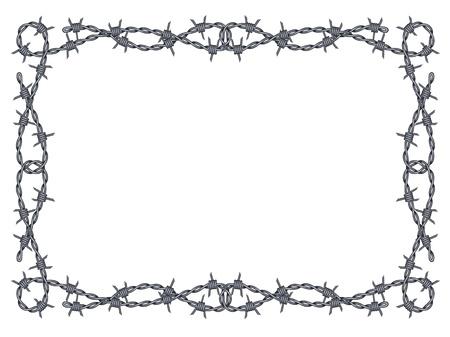 kolczasty drut wzór ramka na białym
