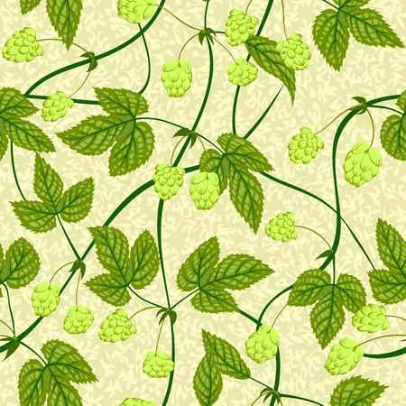 hop plant: vector hop with leaf seamless background