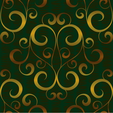 green carpet: vector gold floral abstract seamless background pattern Illustration