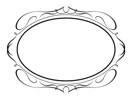 Vector caligrafía ovalada caligrafía ornamentales marco decorativo