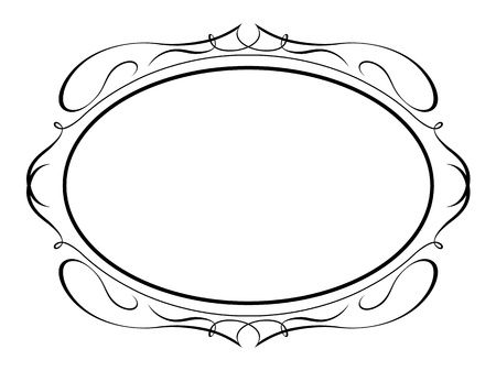 oval shape: Vector oval calligraphy ornamental penmanship decorative frame