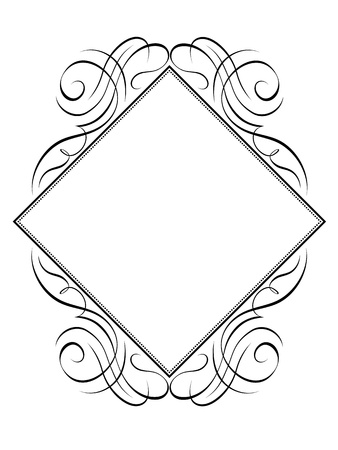 rhomb: Vector calligraphy frame rhomb diamond pattern black isolated Illustration