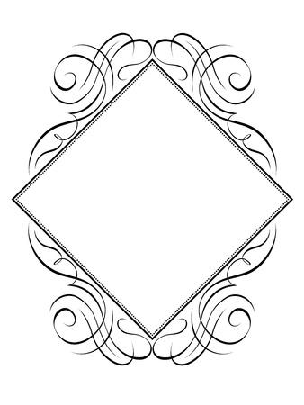 calligraphy frame: Vector marco de la caligraf�a rombo rombo negro aislado Vectores