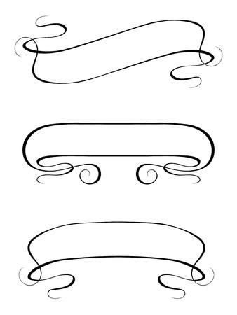 penmanship: Vector calligraphy ribbon frame banner set black isolated Illustration