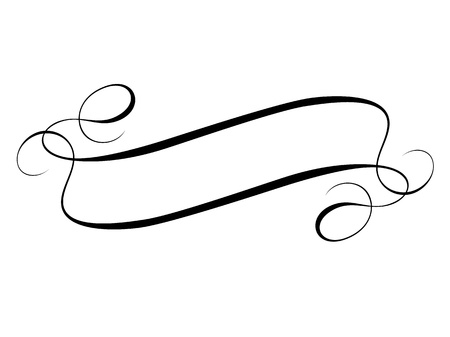 scroll shape: Vector calligraphy ribbon frame banner black isolated Illustration