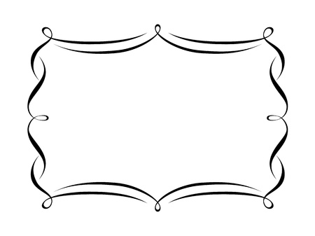 Vector calligraphy penmanship ornamental deco frame pattern Vector
