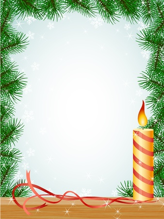 christmas fir branches frame candle ribbon pattern Vector