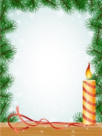 fir tree balls: christmas fir branches frame candle ribbon pattern