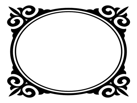 floral pattern motif: Vector oval ornamental decorative frame pattern Illustration