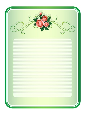 flower border pink: vector frame with roses pattern background
