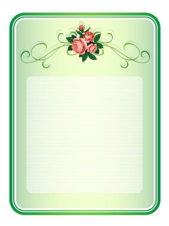 rose frame: vector frame with roses pattern background