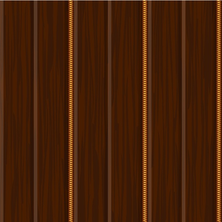 wood wall panel texture with gold decor Vector