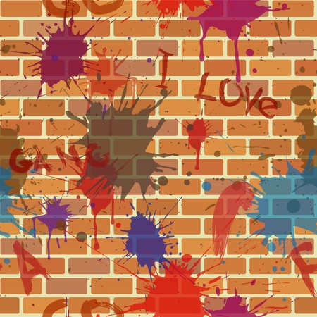 creative writing: seamless dirty street brick wall with graffiti and colour paint blot