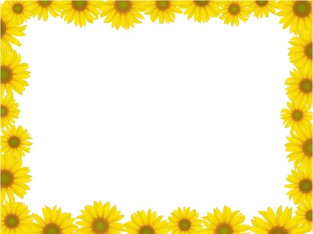 cute border: vector yellow sunflower postcard frame background pattern