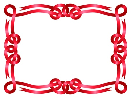 Red ribbon frame isolated on white background Vector