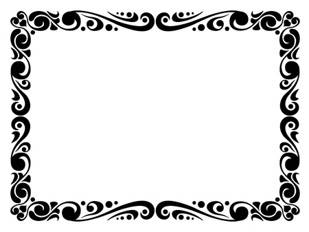 simple border: Vector simple calligraph ornamental decorative frame pattern