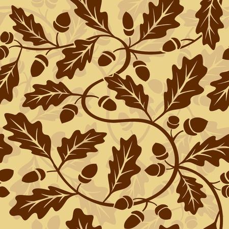 acorns: vector oak leaf acorn seamless background pattern