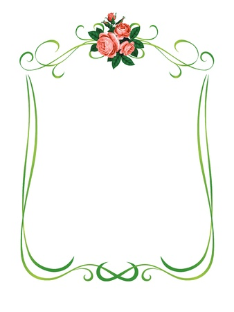 green leaves border: vector roses frame pattern background decoration isolated