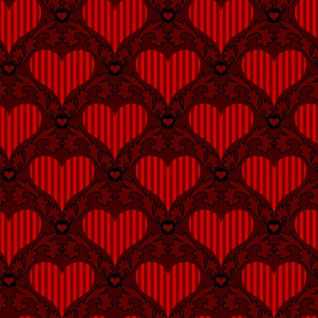 vector red striped heart seamless background wallpaper Vector