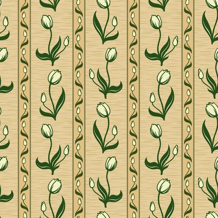 vector tulip line seamless background pattern wallpaper Vector