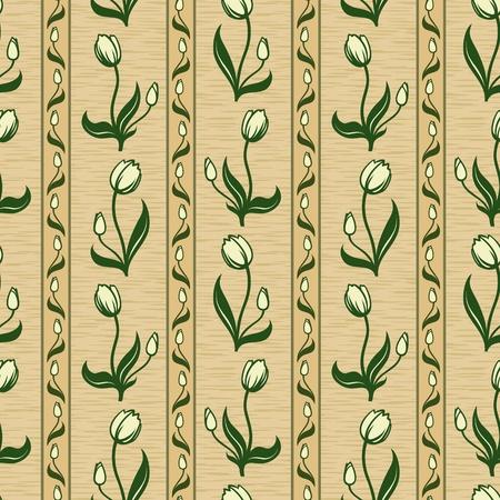vector tulip line seamless background pattern wallpaper Stock Vector - 12375448