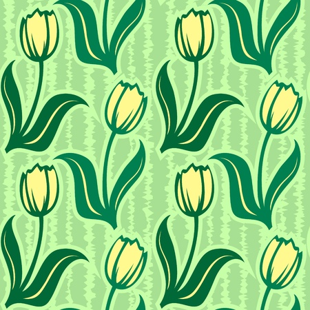 flowers close up: vector tulip seamless background pattern wallpaper decoration Illustration