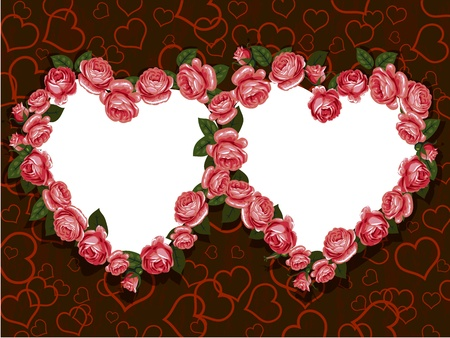 red rose flowers two hearts frame pattern Vector