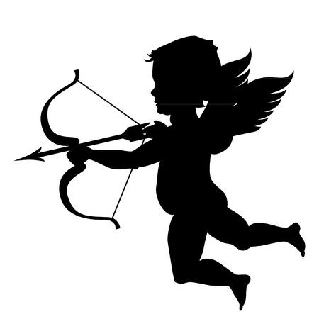 arc fleche: vecteur cupidon noir silhouette isol� sur blanc Illustration