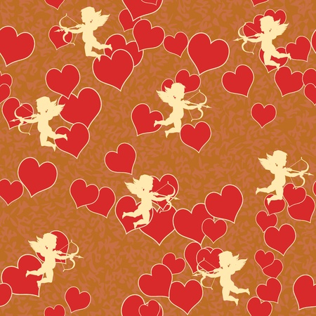 romance image: vector cupid with heart seamless background pattern Illustration
