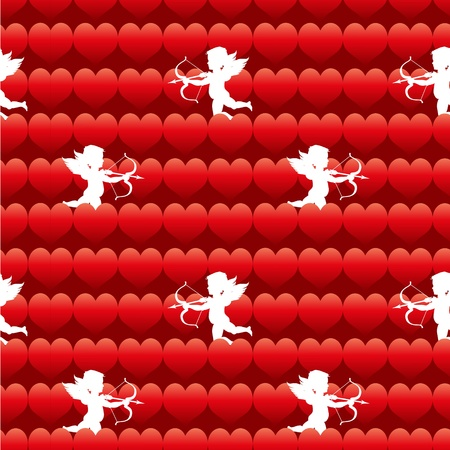 vector cupid with heart seamless background pattern Stock Vector - 12375420