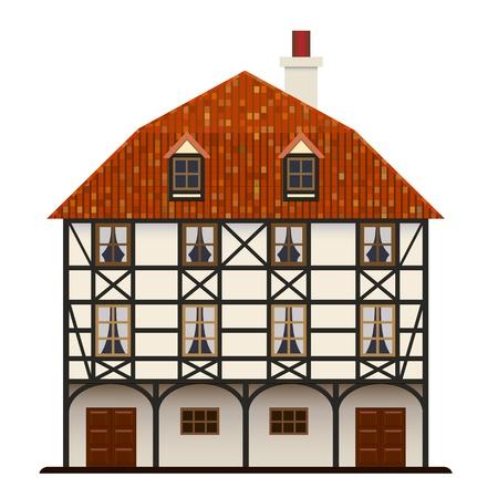 Fachwerk huis oud traditionele Europese cottage geïsoleerd Vector Illustratie