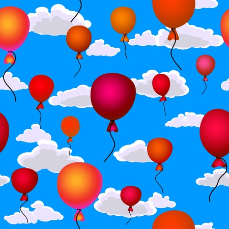 red balloons flying up in the sky seamless background Vector