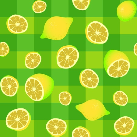 lemons on tablecloth seamless background pattern Vector