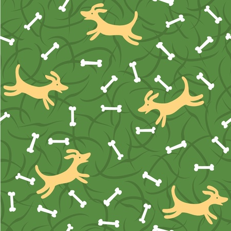 lucky dogs with bones seamless background Vector