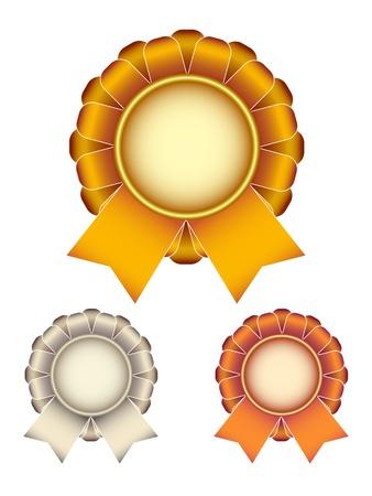 medallion: gold silver bronze award ribbons bow Illustration