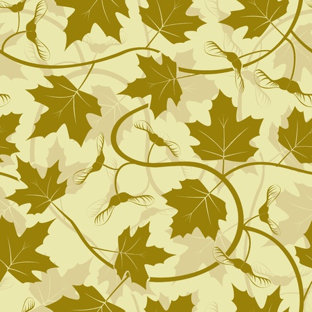 maple leaf acorn silhouette seamless background Vector