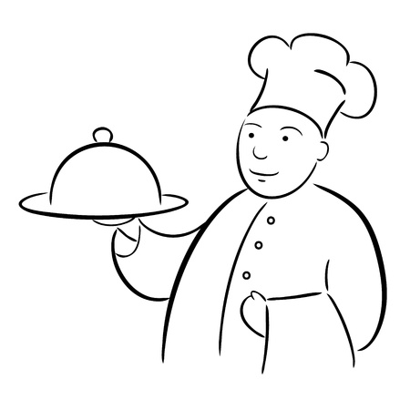 chef cook with tray calligraphy drawing Vector