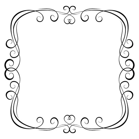 black and white frame: calligraphy penmanship ornamental deco frame pattern Illustration