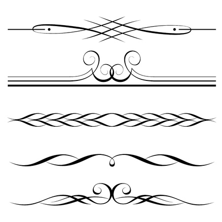 page decoration: set of decorative elements, border and page rules frame Illustration
