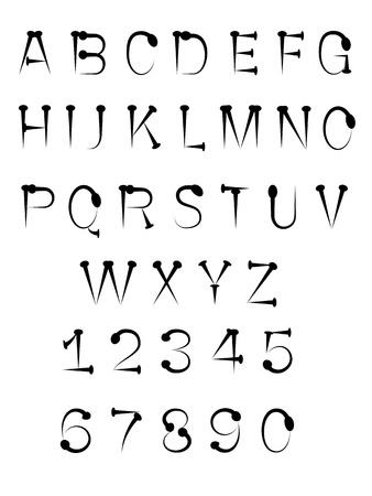 tack: black nail tack alphabet ABC font