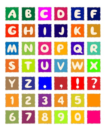 cartoon letters alphabet on square colored paper ABC font Stock Photo - 12727863
