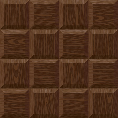 furniture detail: seamless old dark oak square parquet panel wall texture Illustration